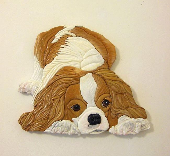 Art: Cavalier King Charles Dog, Original Painted Intarsia Art by Artist Gina Stern