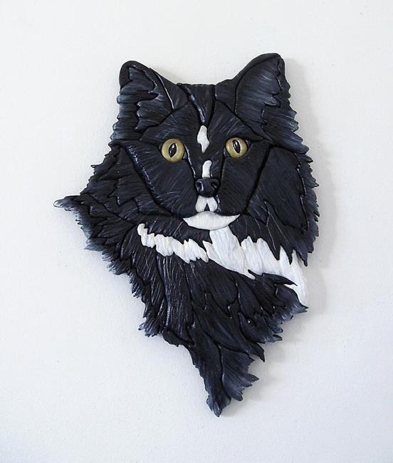 Art: Black cat Lucky Original Painted Intarsia Art by Artist Gina Stern