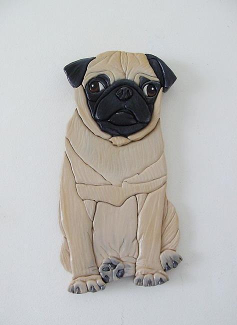 Art: Pug Puppy.....Hungry Original Painted Intarsia Art by Artist Gina Stern