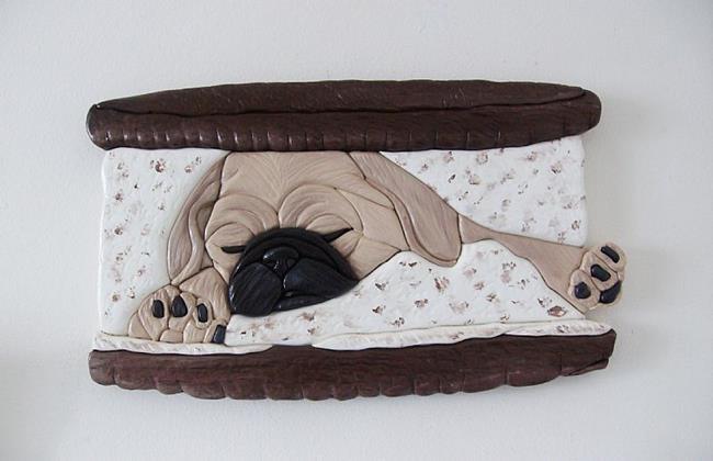 Art: Sleepy Pug Puppy Oreo Cookie by Artist Gina Stern