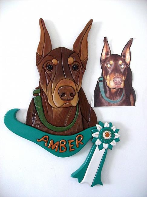Art: Amber....Doberman Original Painted Intarsia Art by Artist Gina Stern