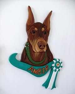 Detail Image for art Amber....Doberman Original Painted Intarsia Art