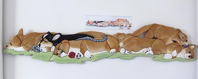 Art: Corgi Snooze Time...Painted Intarsia Art by Artist Gina Stern