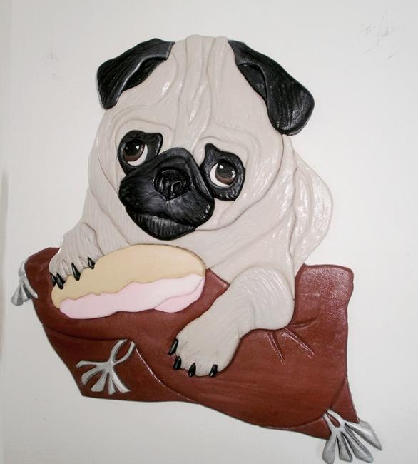 Art: Pug Dog Sitting Pretty Original Painted Intarsia Art by Artist Gina Stern