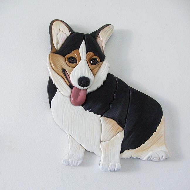 Art: Bella Tri Corgi Dog Original Painted Intarsia Art by Artist Gina Stern