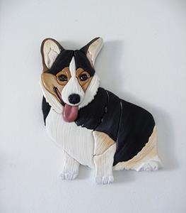Detail Image for art Bella Tri Corgi Dog Original Painted Intarsia Art