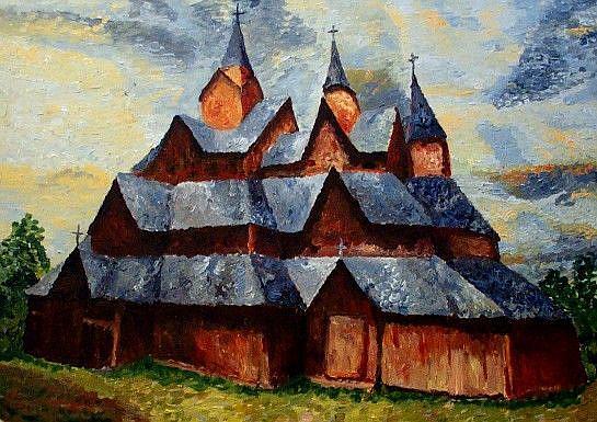 Art: A wooden church by Artist Mats Eriksson