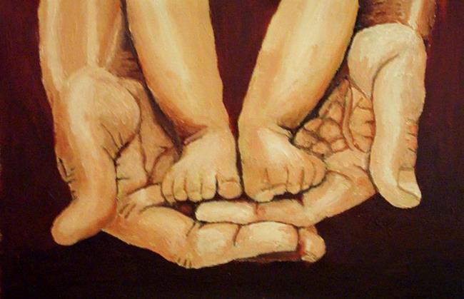 Art: In daddy's hands by Artist Mats Eriksson