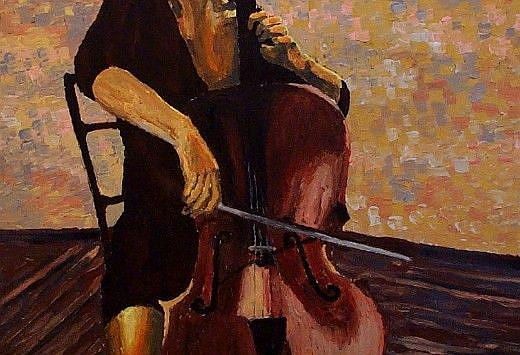 Art: The girl and her cello (sold) by Artist Mats Eriksson