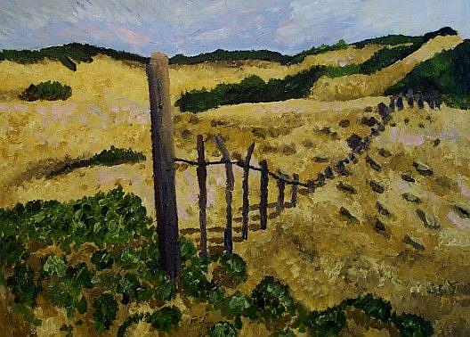 Art: The fence by the beach by Artist Mats Eriksson