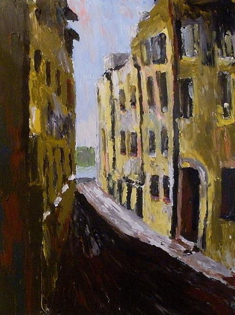 Art: Old town in Stockholm by Artist Mats Eriksson