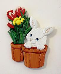 Art: Bunny Surprise...Painted Intarsia Art by Artist Gina Stern