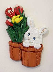 Detail Image for art Bunny Surprise...Painted Intarsia Art