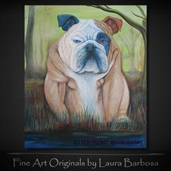 Art: Bulldog In A Bog by Artist Laura Barbosa