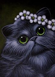 Art: *SMOKEY PERSIAN CAT - APPLE BLOSSOM FLOWERS by Artist Cyra R. Cancel