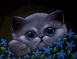 Art: *SMOKEY KITTEN CAT, FORGET-ME-NOT FLOWERS by Artist Cyra R. Cancel