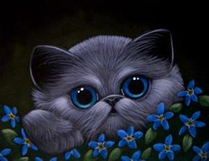 Detail Image for art *SMOKEY KITTEN CAT, FORGET-ME-NOT FLOWERS