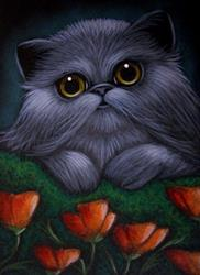 Art: *SMOKEY PERSIAN CAT - POPPY FLOWERS by Artist Cyra R. Cancel