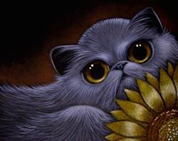 Art: SMOKEY PERSIAN CAT - SUNFLOWER by Artist Cyra R. Cancel