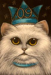 Art: SILVER CAT - HAPPY NEW YEAR 2009 by Artist Cyra R. Cancel