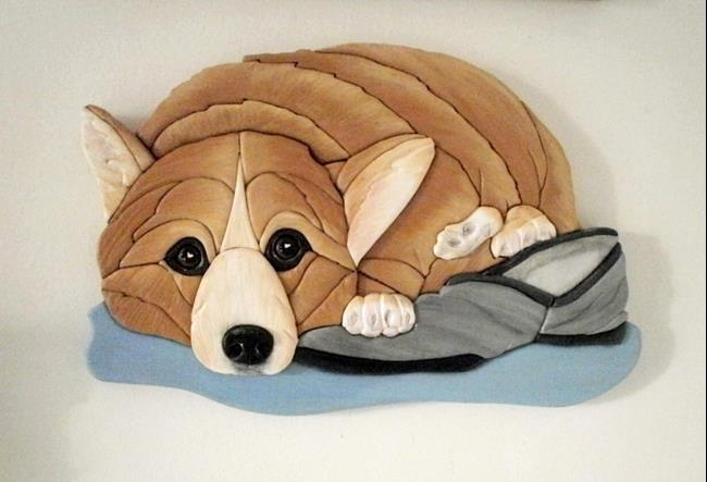 Art: Corgi Dog..Dad's Slipper Original Painted Intarsia Art by Artist Gina Stern