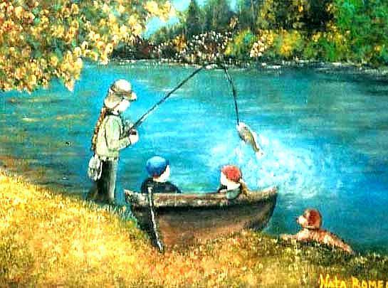 Art: Fishing By The River by Artist Nata Romeo ArtistaDonna