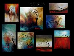 Art: Custom 60 Abstract Surreal Tree Painting by CES by Artist Christine E. S. Code ~CES~
