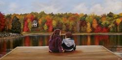 Art: Commissioned Painting: Autumn Glory: Isabella and Matthew at the Bay by Artist Christine E. S. Code ~CES~