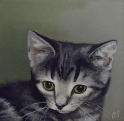 Art: Commissioned Pet Portrait: Smokey by Artist Christine E. S. Code ~CES~