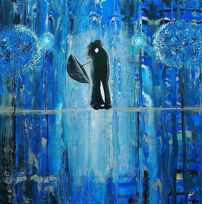 Art: Sapphire Rain Romance II (sold) by Artist Amber Elizabeth Lamoreaux