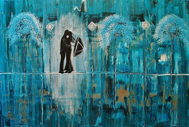 Art: Turquoise Rain Romance 02/50 (sold) by Artist Amber Elizabeth Lamoreaux