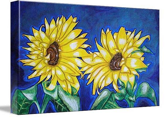 Art: A Tale of Two Sunflowers (sold) by Artist Amber Elizabeth Lamoreaux