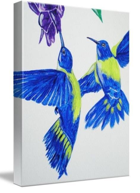Art: Blue Hummingbirds (01/50, sold) by Artist Amber Elizabeth Lamoreaux