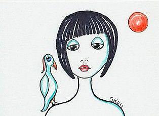 Art: My Bluebird Loves A Red Sun-Sold by Artist Sherry Key