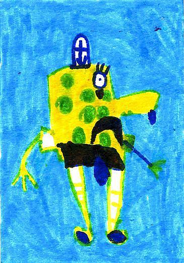 Art: Sponge Bob Crying Because He Lost His Job by Artist Christine Wasankari