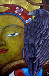 Art: *RAVEN CROW 79 MAITREYA BUDDHA by Artist Cyra R. Cancel