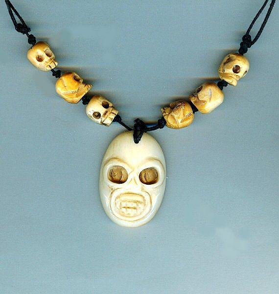 Day Of The Dead Skull Necklace Carved Bone Pendant Beads By Sparkle Plenty Fine Beaded Jewellery From