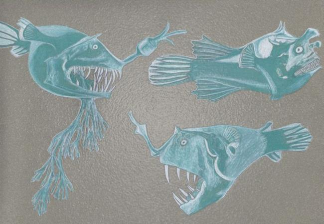 Art: Scary Fish by Artist Paula M Parker