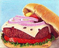 Art: Cheese Burger by Artist Ulrike 'Ricky' Martin