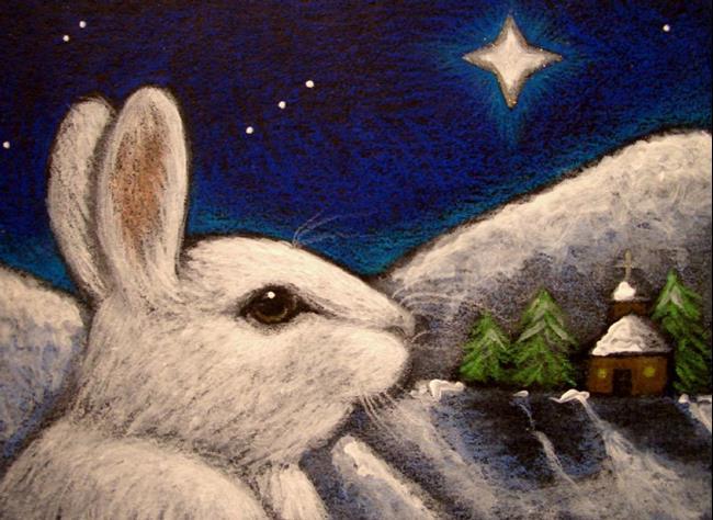 Art: SNOW HOLIDAY BUNNY RABBIT - BELEN STAR by Artist Cyra R. Cancel