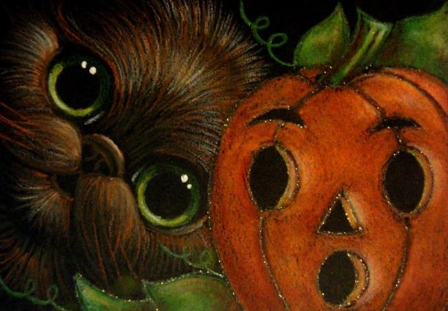 Art: BLACK CAT   HALLOWEEN PUMPKIN FACE 2 By Artist Cyra R. Cancel