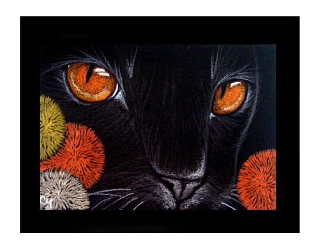 Black Cat With Pink Scary Eyes: Black Cat With Scary Coral Eyes 2 (SOLD)