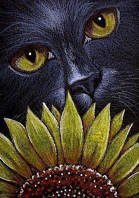 Art: BLACK CAT BEHIND THE SUNFLOWER by Artist Cyra R. Cancel