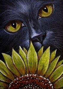 Detail Image for art BLACK CAT BEHIND THE SUNFLOWER