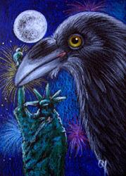 Art: RAVEN CROW PROFILE - JULY 4TH AT NY LIBERTY STATUE by Artist Cyra R. Cancel
