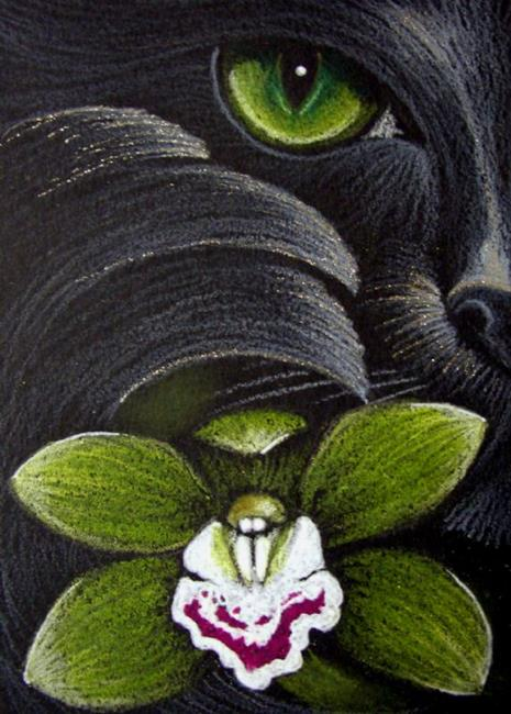 Art: *BLACK CAT MERCAT - GREEN ORCHID FLOWER by Artist Cyra R. Cancel