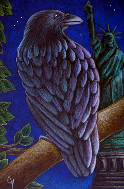 Art: RAVEN CROW 47 - STATUE OF LIBERTY by Artist Cyra R. Cancel