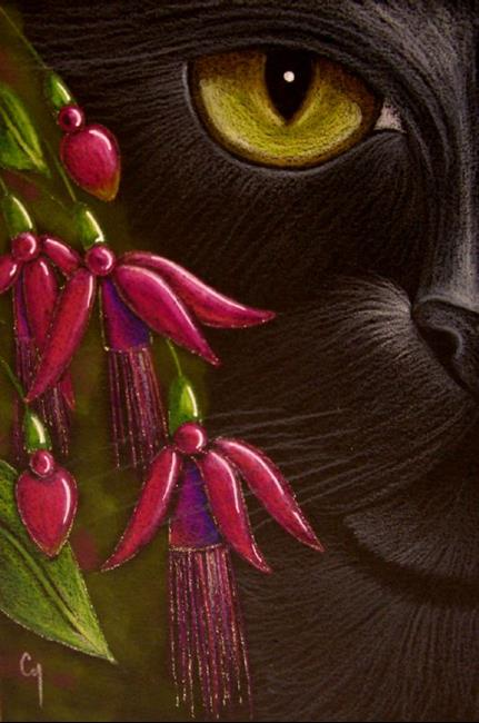 Art: BLACK CAT - FUCHSIA FLOWERS OSWOA by Artist Cyra R. Cancel