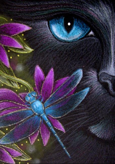 black cat katze  dragonfly  flowers  by cyra r. cancel from, Beautiful flower