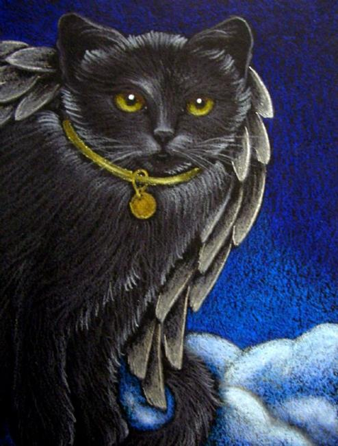 Art: BLACK ANGEL CAT KATZE CHAT - SILVER WINGS by Artist Cyra R